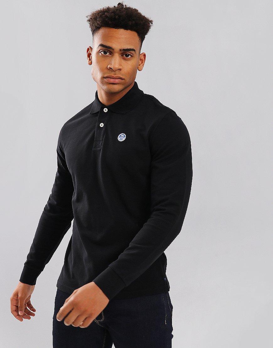 North Sails Long Sleeve Polo Shirt Black