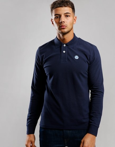 North Sails Long Sleeve Polo Shirt Navy Blue