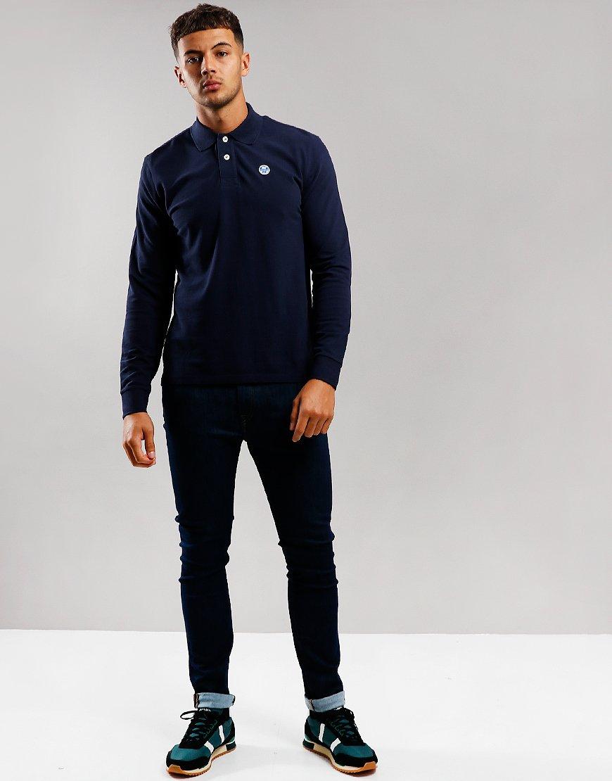 North Sails Long Sleeve Polo Shirt Navy Blue