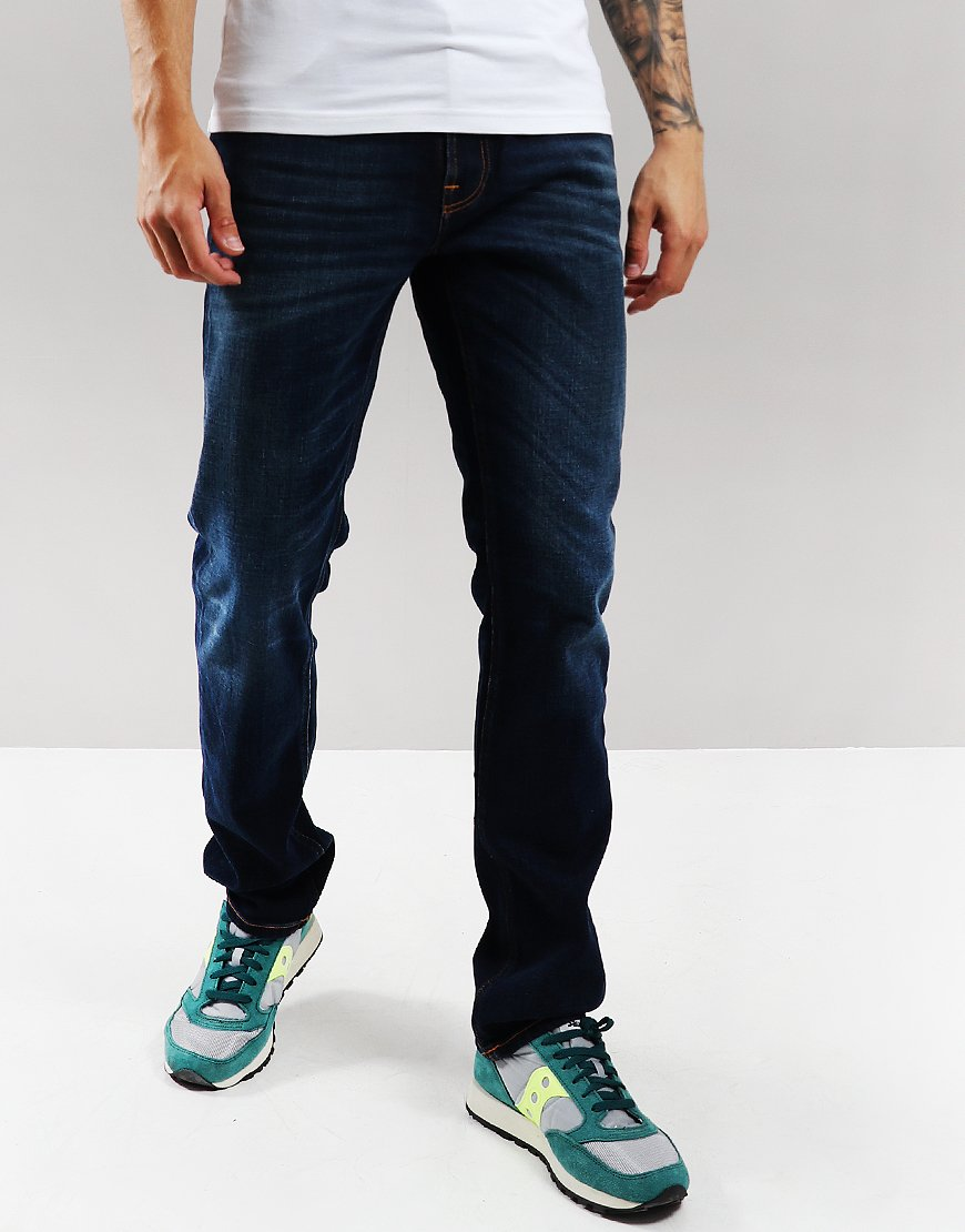Nudie Lean Dean Slim Fit Jeans Dark Deep Worn