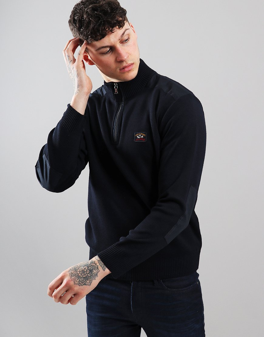 Paul & Shark Half Zip Knitted Sweat Blue