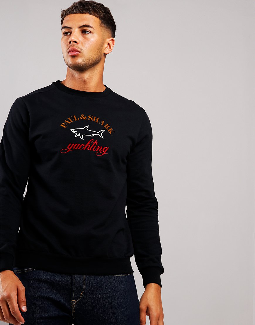 Paul & Shark Logo Crew Sweat Black