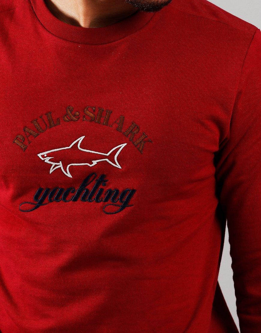 Paul & Shark Logo Crew Sweat Dark Wine