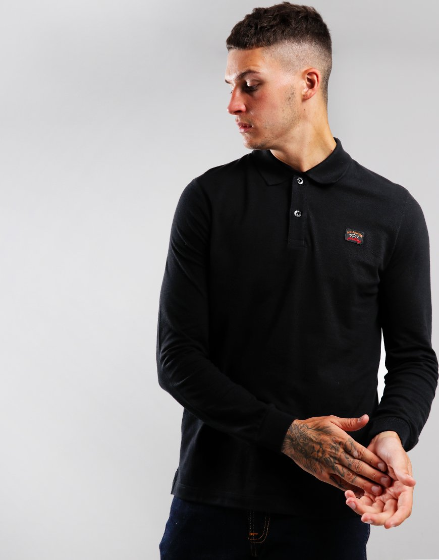 Paul & Shark Long Sleeved Basic Polo Shirt Black