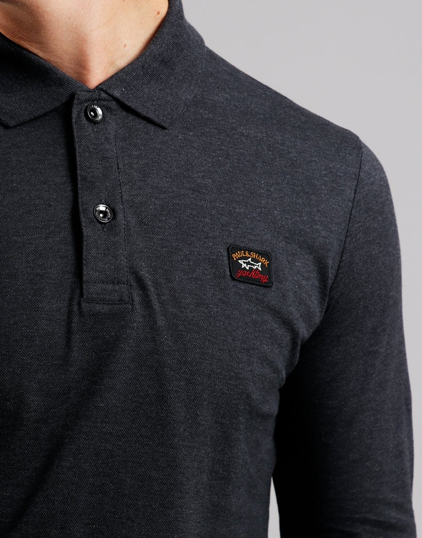 Paul & Shark Long Sleeved Basic Polo Shirt Charcoal