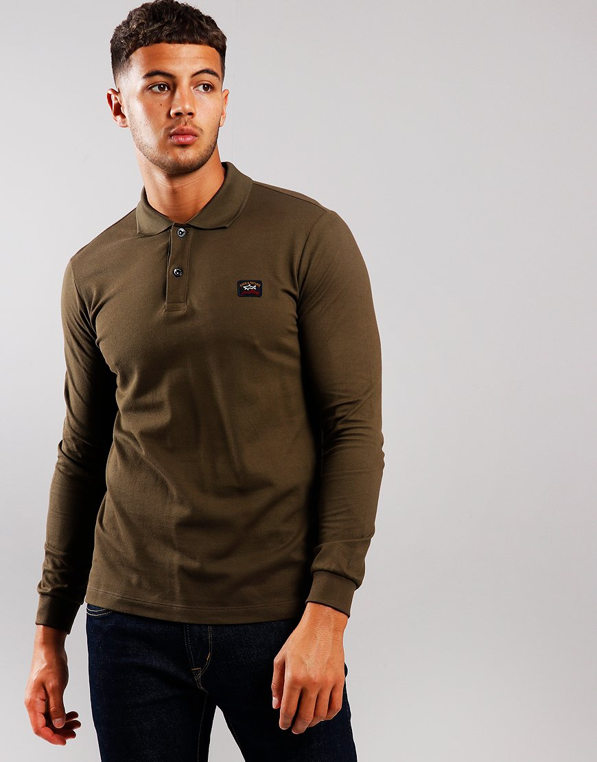 Paul & Shark Long Sleeved Basic Polo Shirt Olive Green