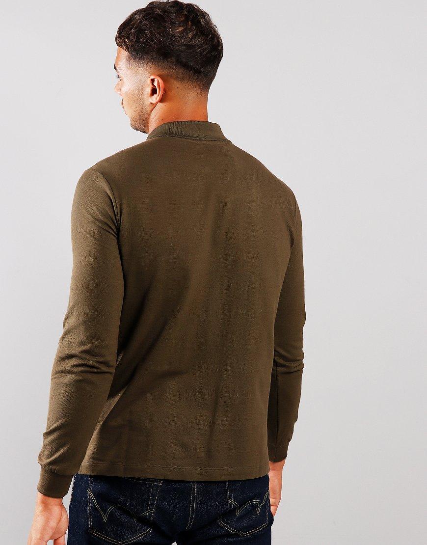 Paul & Shark Long Sleeved Basic Polo Shirt Olive Green