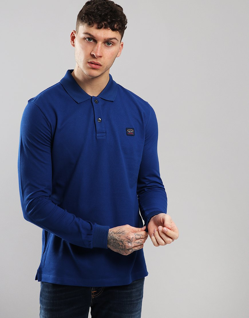 Paul & Shark Long Sleeved Basic Polo Shirt Royal Blue