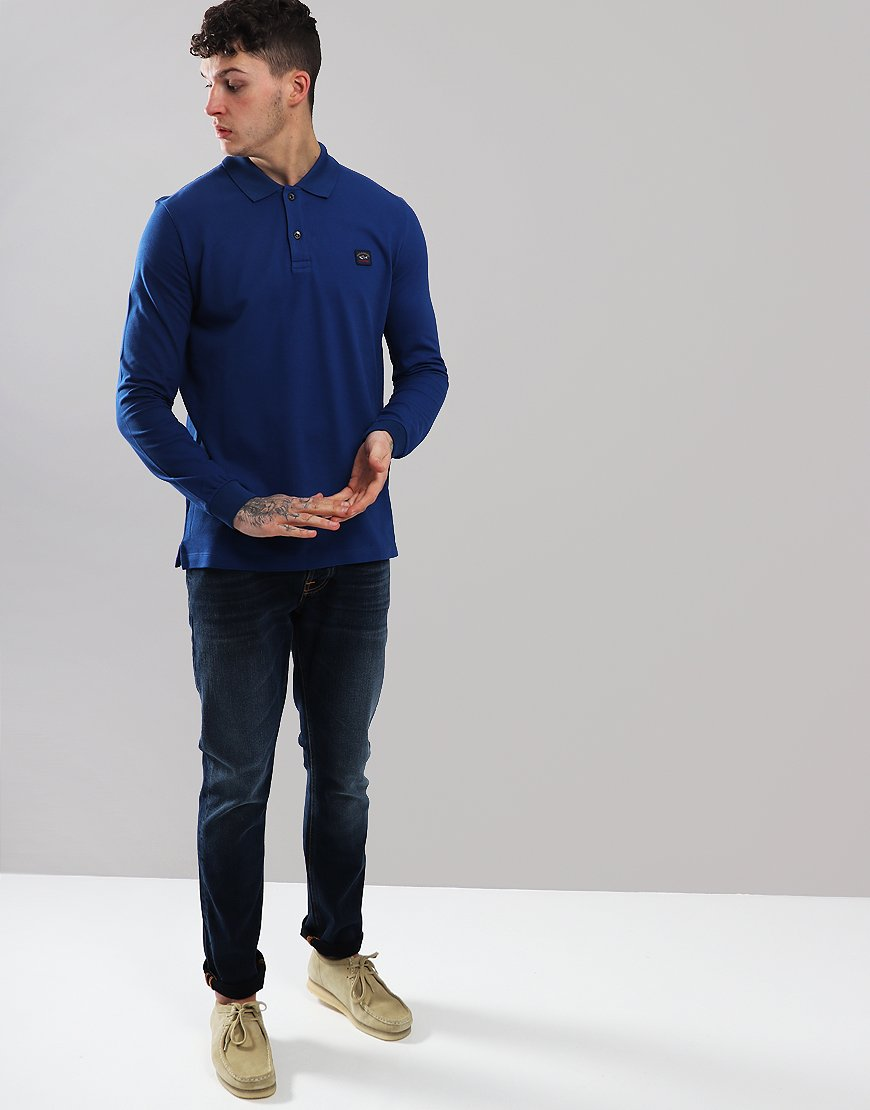 Paul & Shark Long Sleeved Basic Polo Shirt Royal Blue