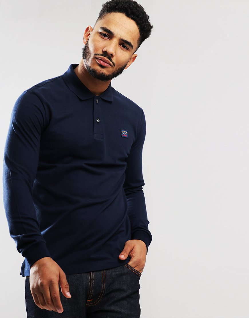 Paul & Shark Long Sleeved Basic Polo Shirt Blue