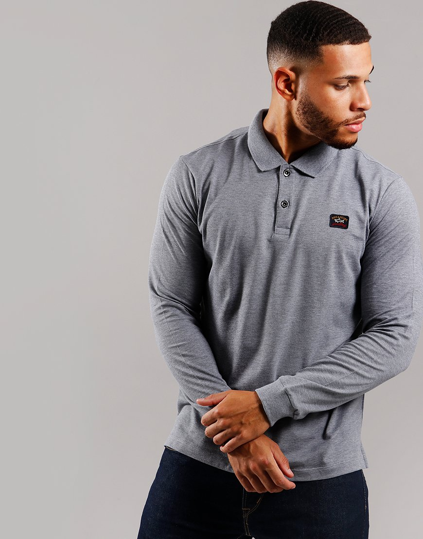 Paul & Shark Long Sleeved Basic Polo Shirt Grey
