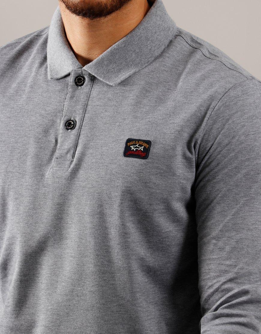 Paul & Shark Long Sleeved Basic Polo Shirt Grey