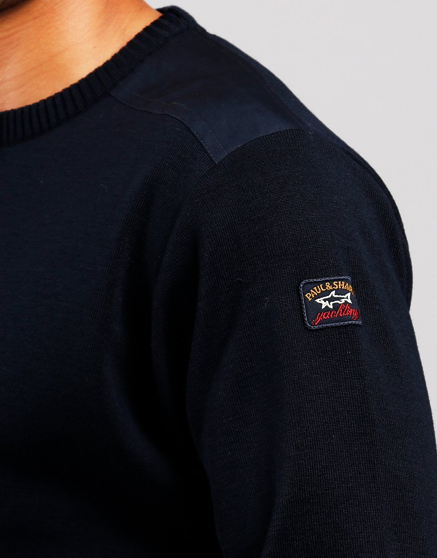 Paul & Shark Patch Knit Crew Sweat Blue