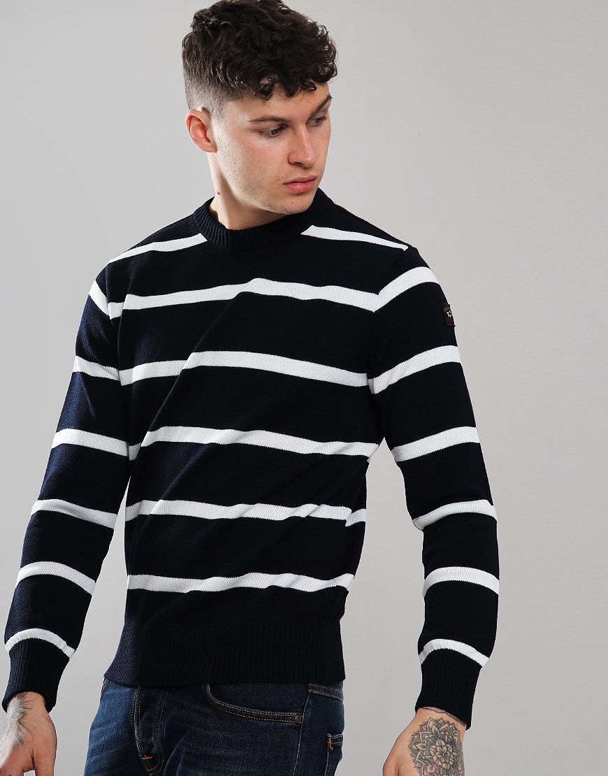 Paul & Shark Stripe Crew Neck Jumper Blue/Cream