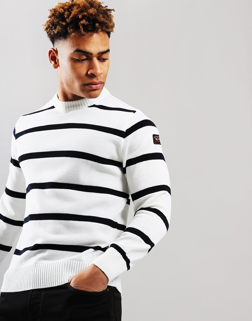Paul & Shark Stripe Crew Neck Jumper Cream/Blue