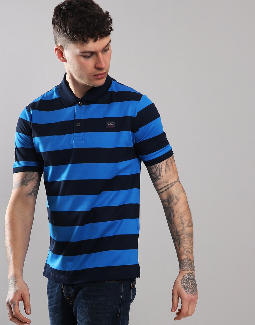 Paul & Shark Stripe Polo Shirt Blue/Cobalt Blue