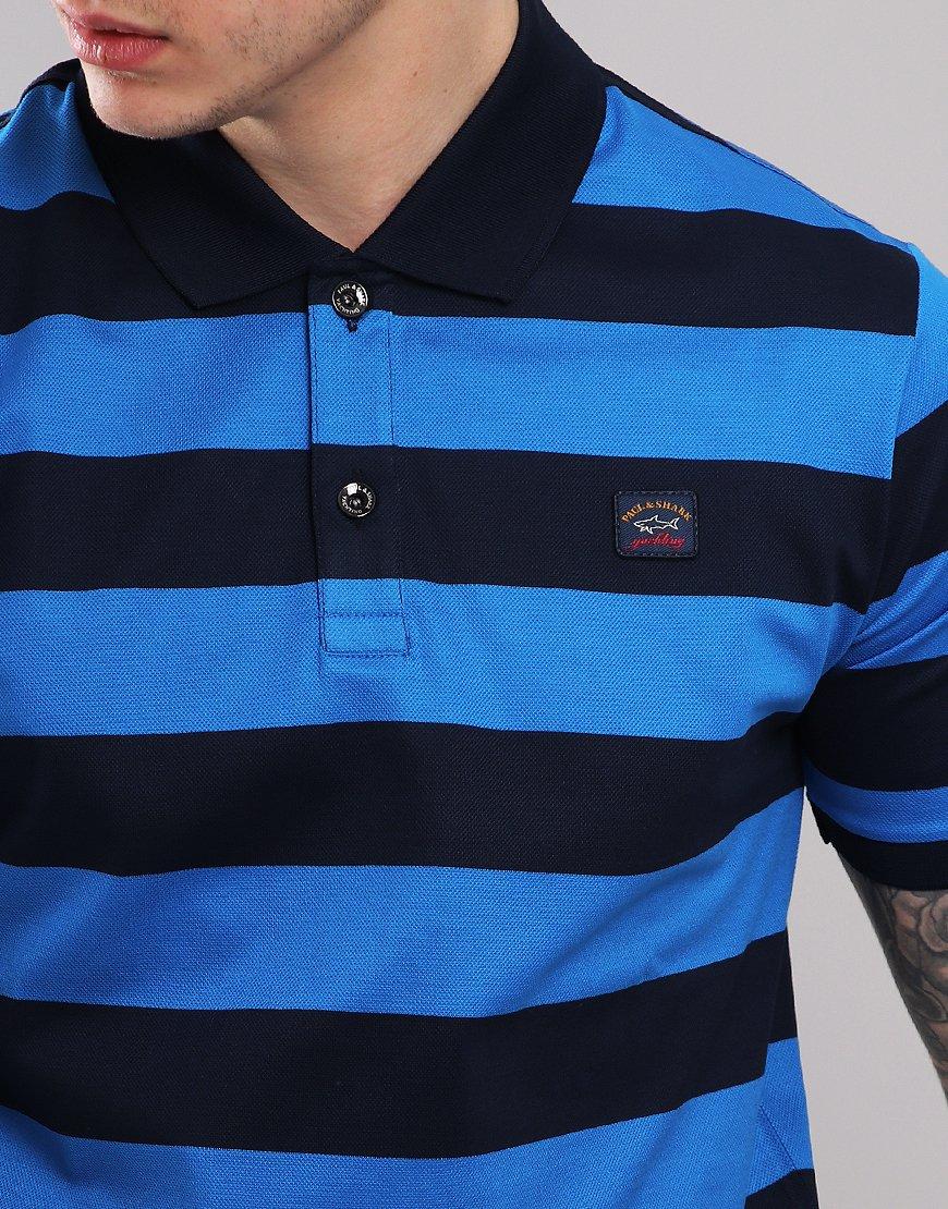 b0bf3c16 Paul & Shark Stripe Polo Shirt Blue/Cobalt Blue - Terraces Menswear