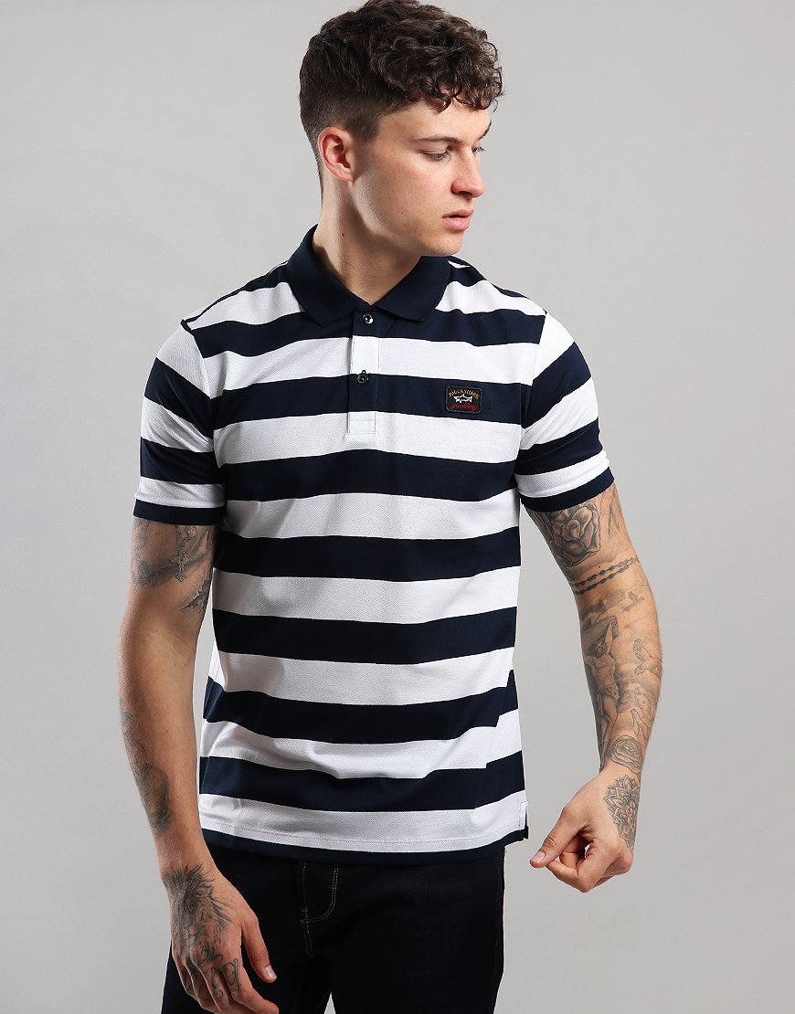 Paul & Shark Stripe Polo Shirt Blue/White