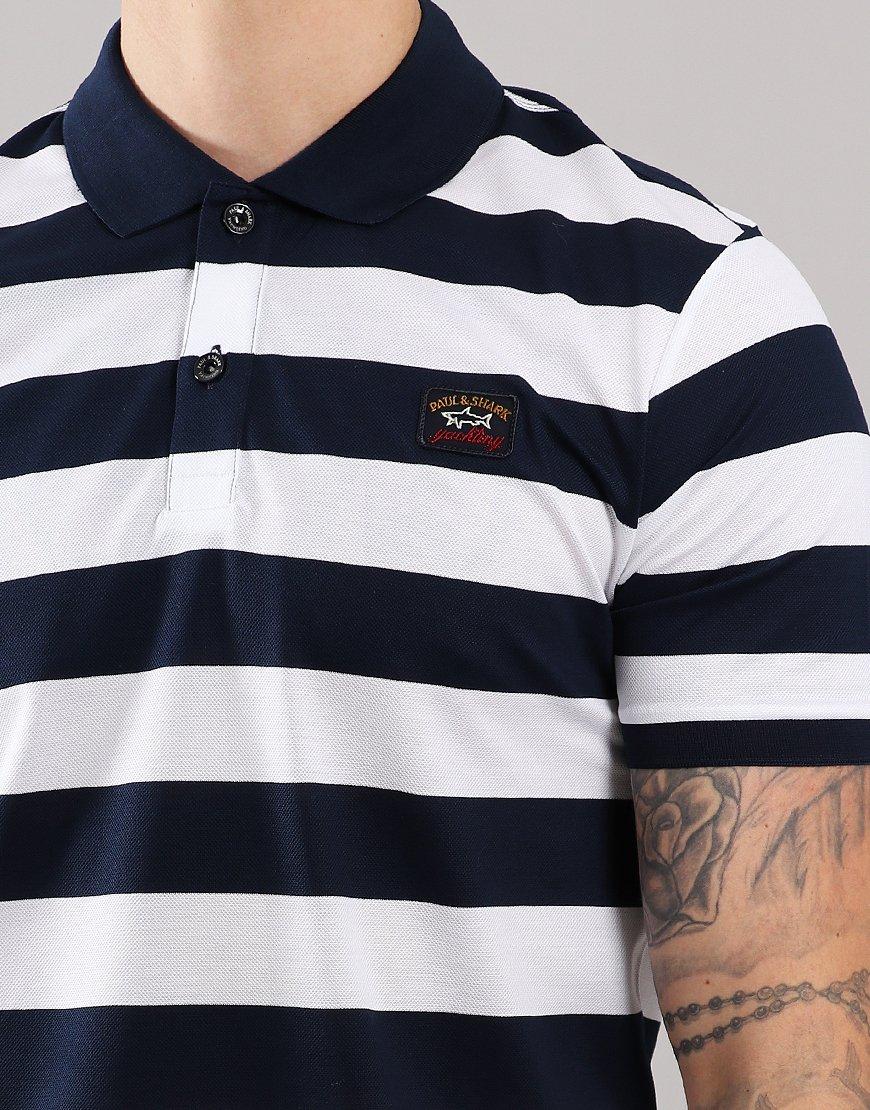 69d03c81 Paul & Shark Stripe Polo Shirt Blue/White - Terraces Menswear