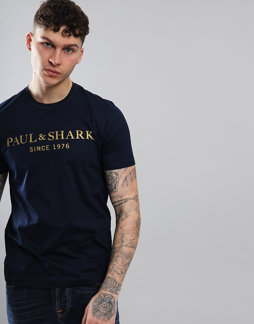 Paul & Shark Letter Print T-Shirt Blue