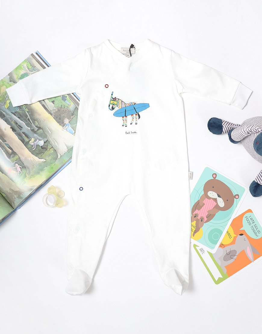 Paul Smith Tahoe 'Surfing Zebra' Babygrow White