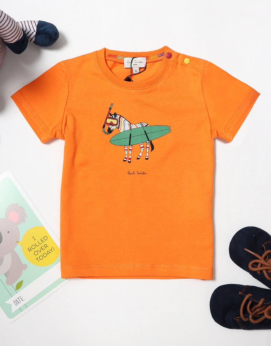 Paul Smith Thor 'Surfing Zebra' T-Shirt Orange Peel