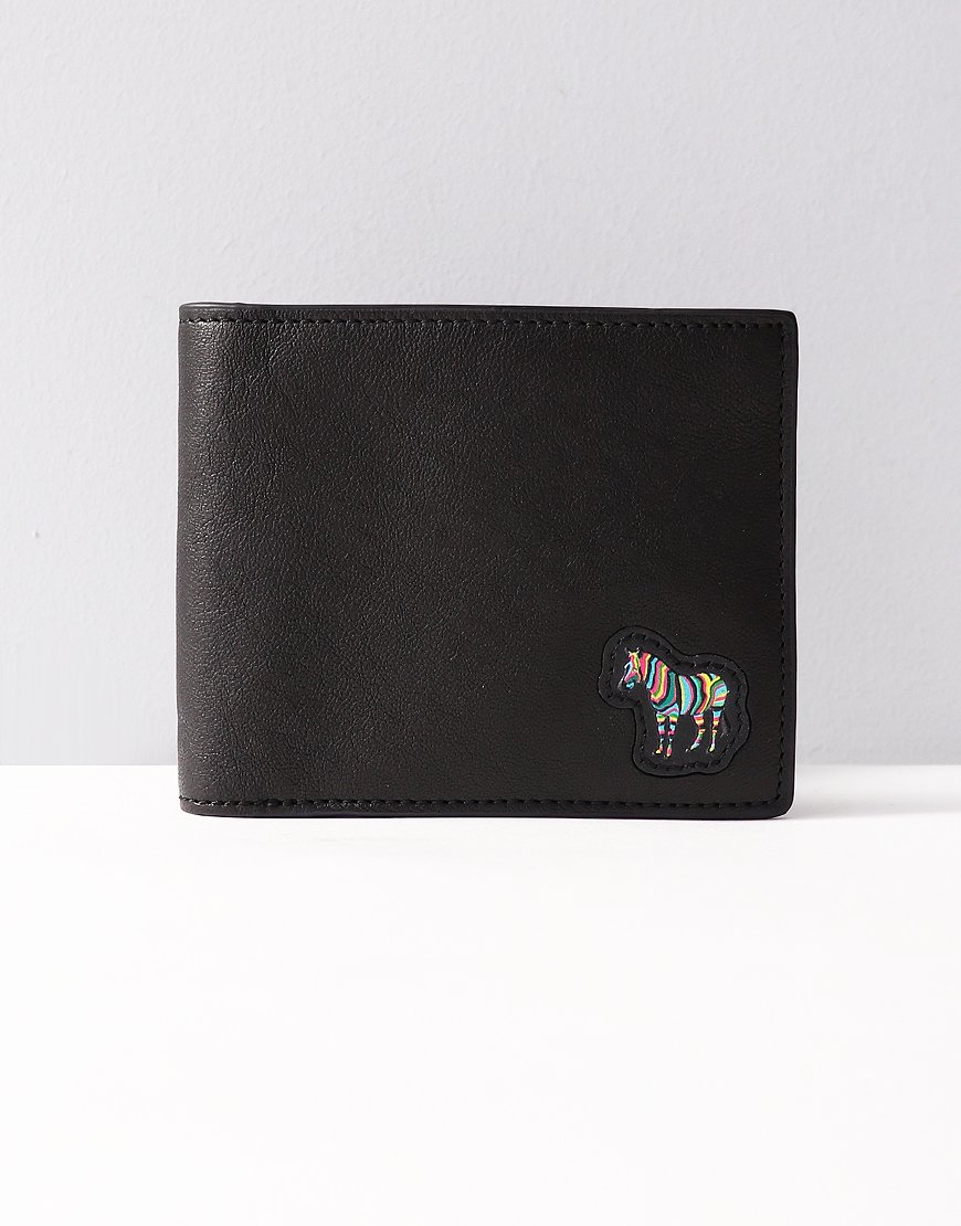 Paul Smith Zebra Appliqué Leather Billfold Wallet Black