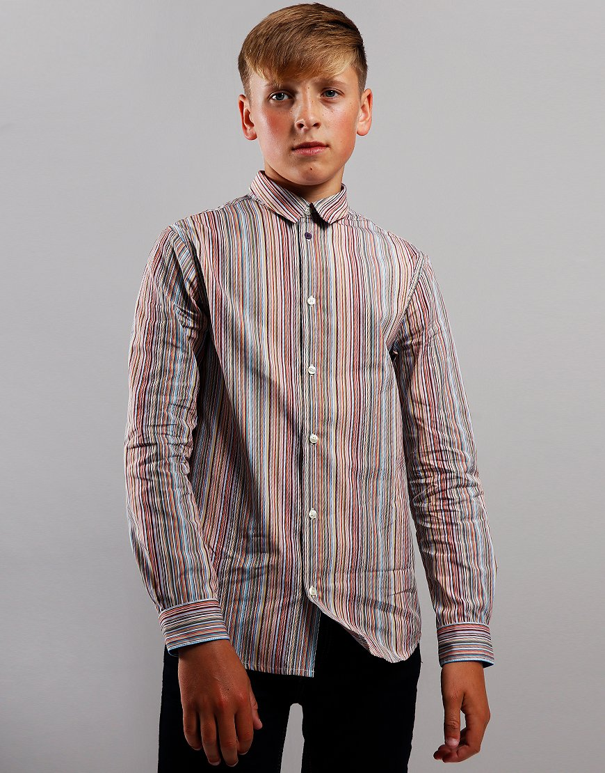 Paul Smith Junior Lorens Long Sleeve Multistripe Shirt Multicolour