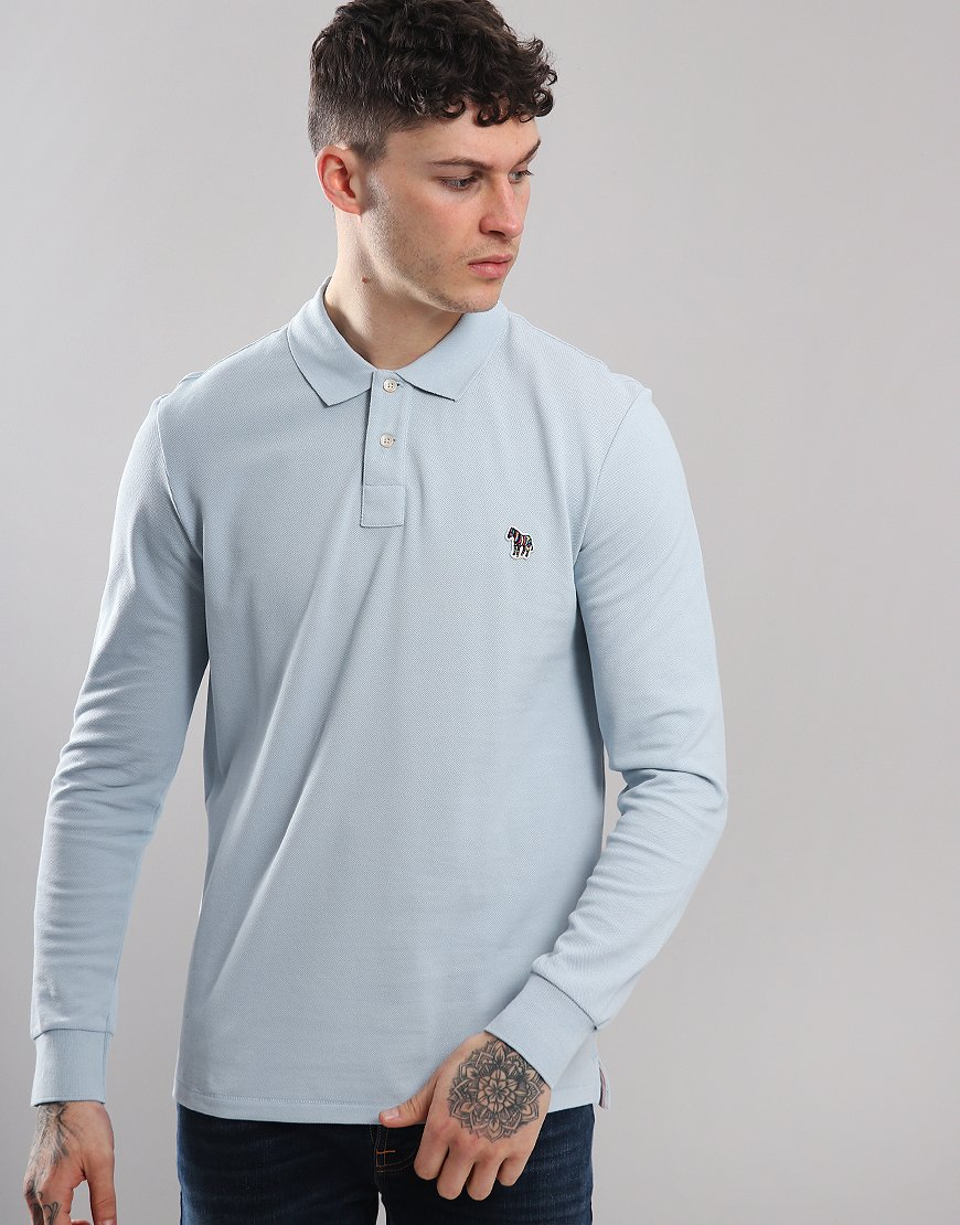Paul Smith Long Sleeve Polo Shirt Light Blue