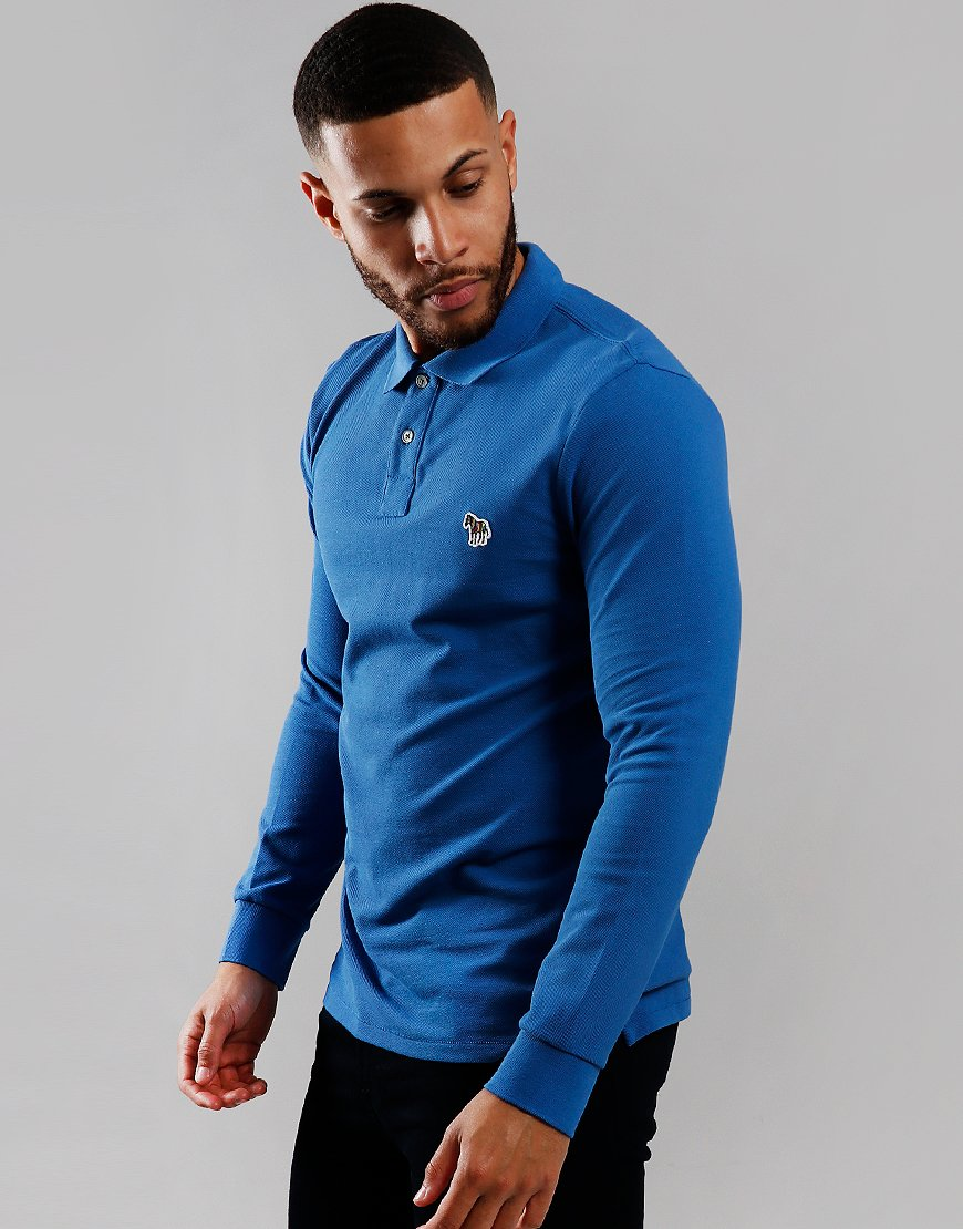 Paul Smith Long Sleeve Regular Fit Polo Shirt Cobalt Blue