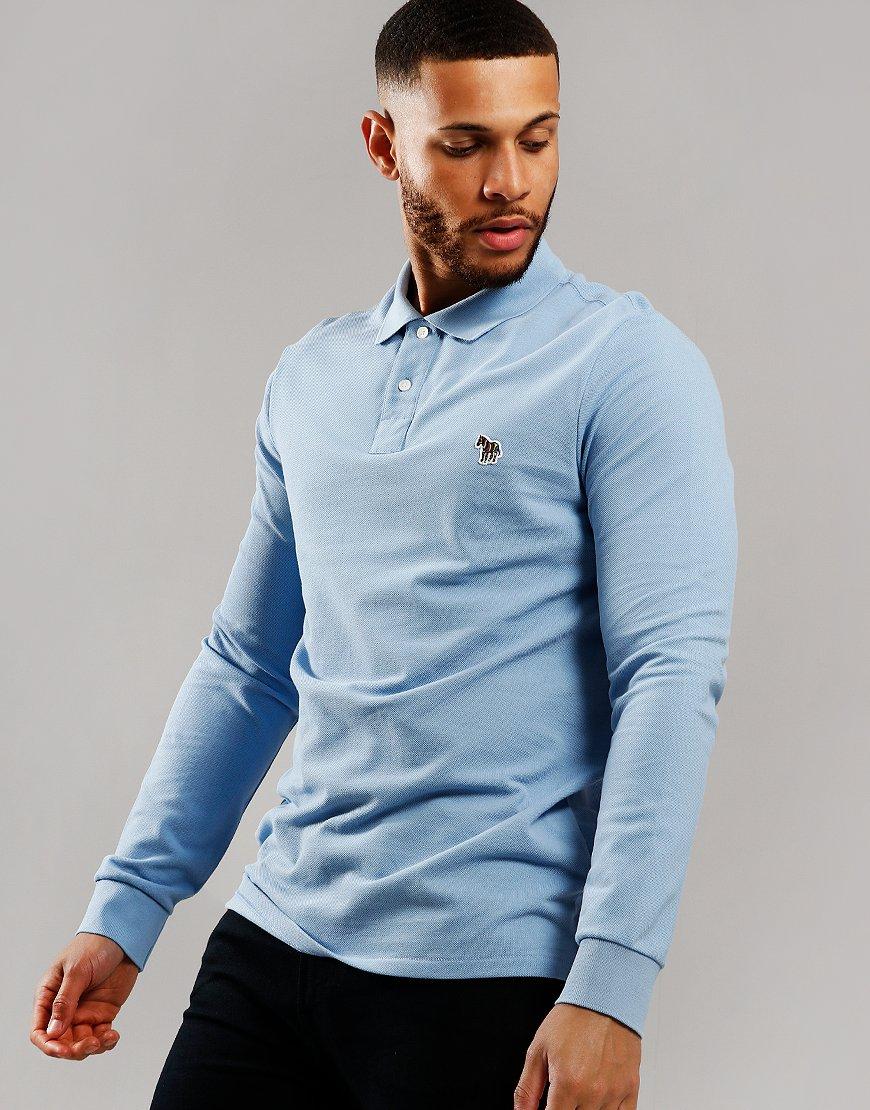 Paul Smith Long Sleeve Regular Fit Polo Shirt Petrol Blue