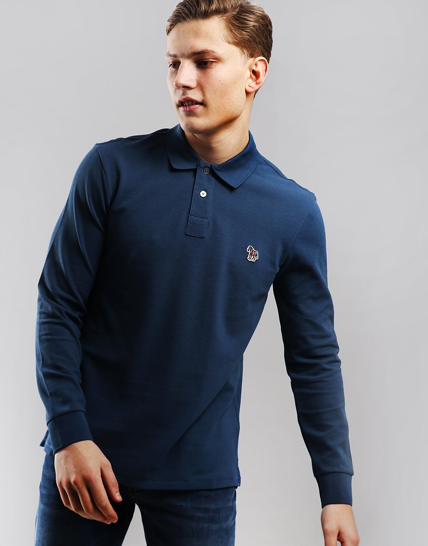 Paul Smith Long Sleeve Polo Shirt Turquoise