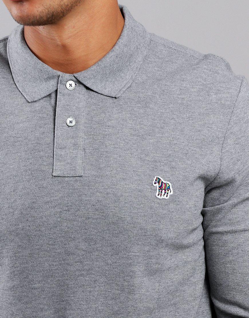 Paul Smith Long Sleeve Polo Shirt Dark Grey Melange