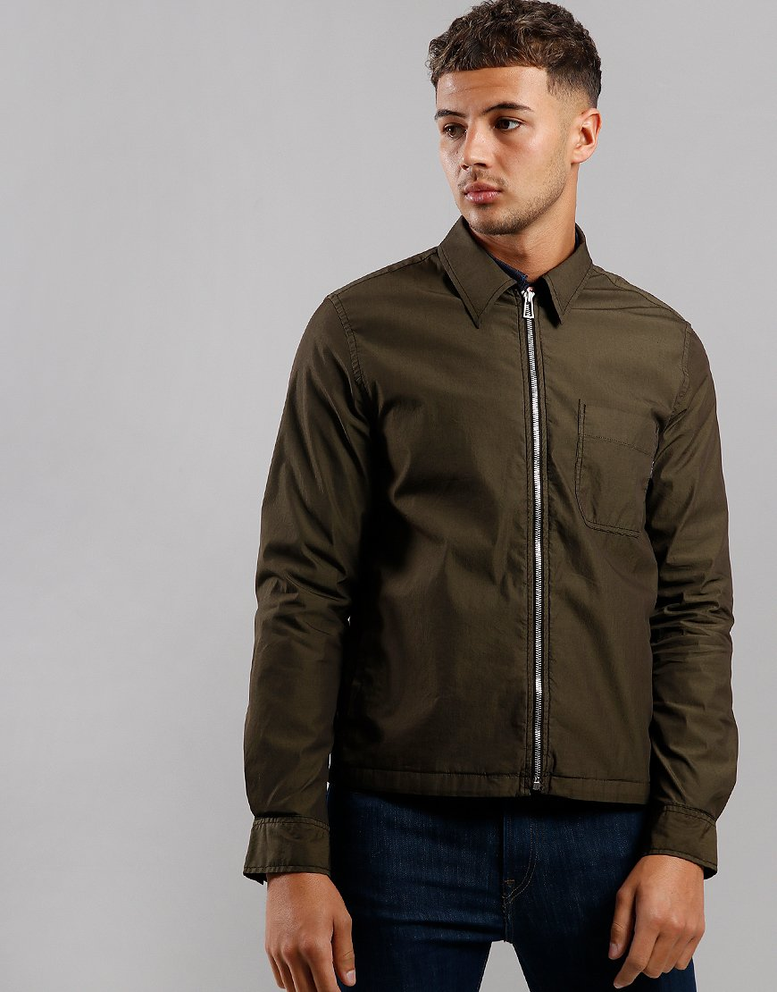 Paul Smith Stretch Cotton Garment Dyed Overshirt Military Green