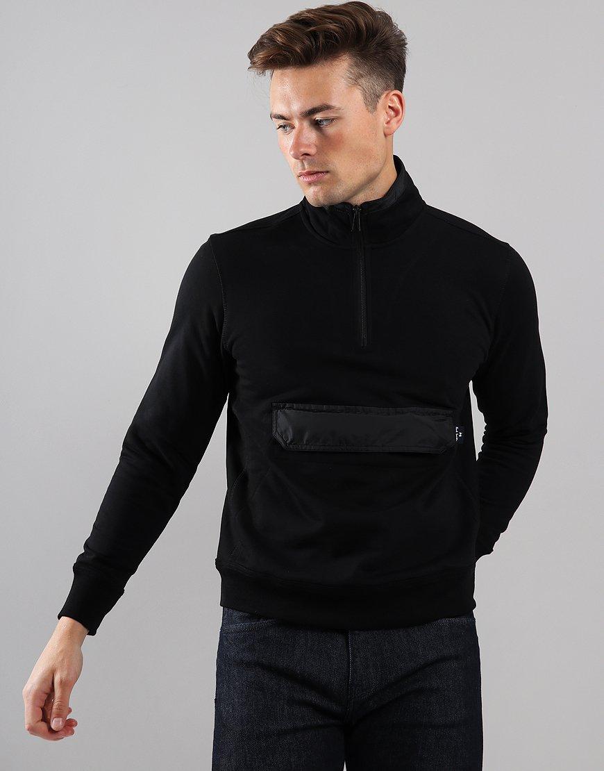 Paul Smith Half Zip Funnel Neck Pocket Sweat Black