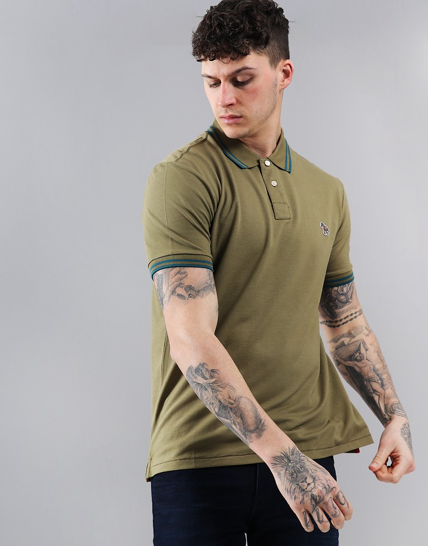 Paul Smith Tipped Polo Shirt Military Green