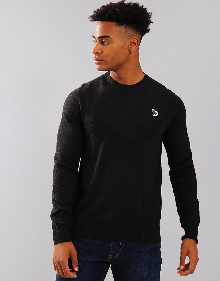 Paul Smith Zebra Logo Cotton Blend Knit Black Melange