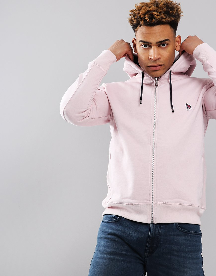 Paul Smith Zip Front Zebra Logo Hoodie Pink