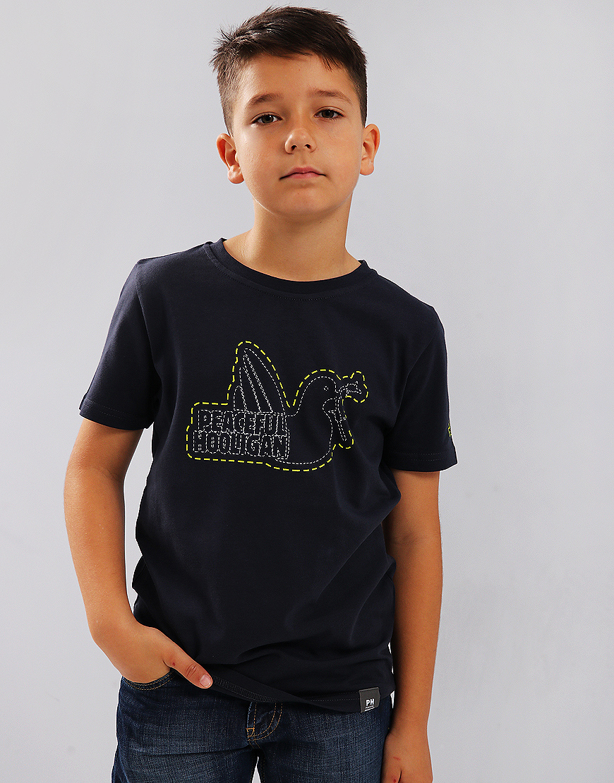Peaceful Hooligan Kids Stitch T-Shirt Navy