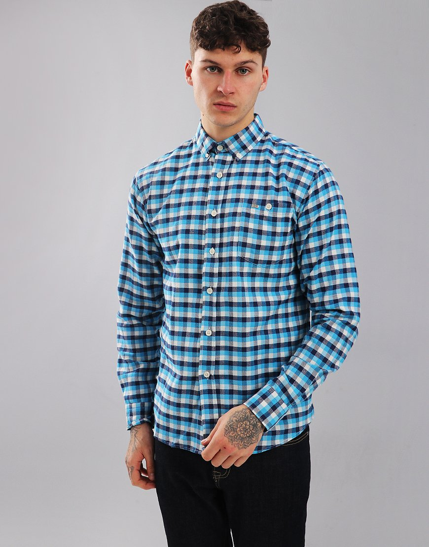 Peaceful Hooligan Lodger Long Sleeve Shirt White/Navy/Blue