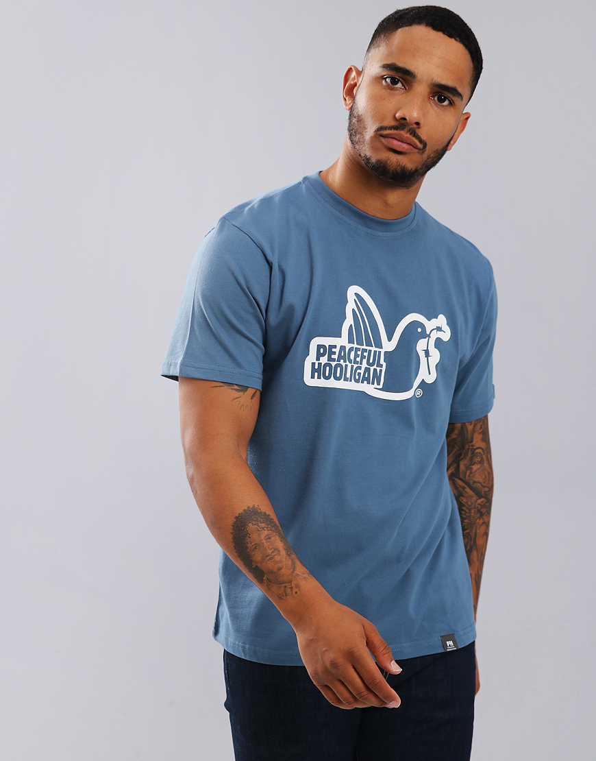 Peaceful Hooligan Outline Dove T-Shirt Petrol