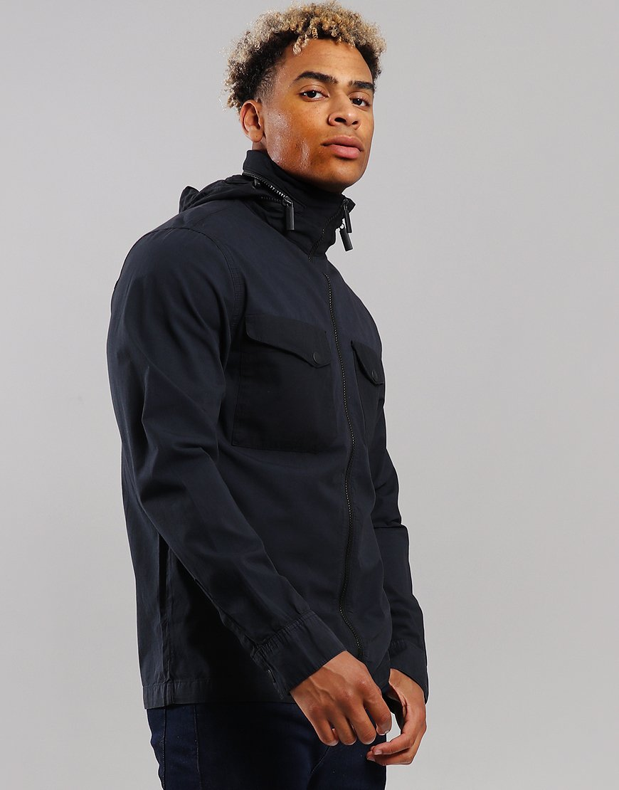 Peaceful Production Concealed Overshirt Navy