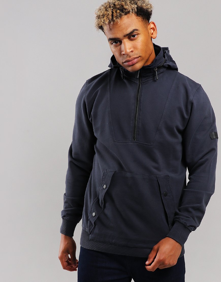 Peaceful Production Concealed Hood Sweat Navy