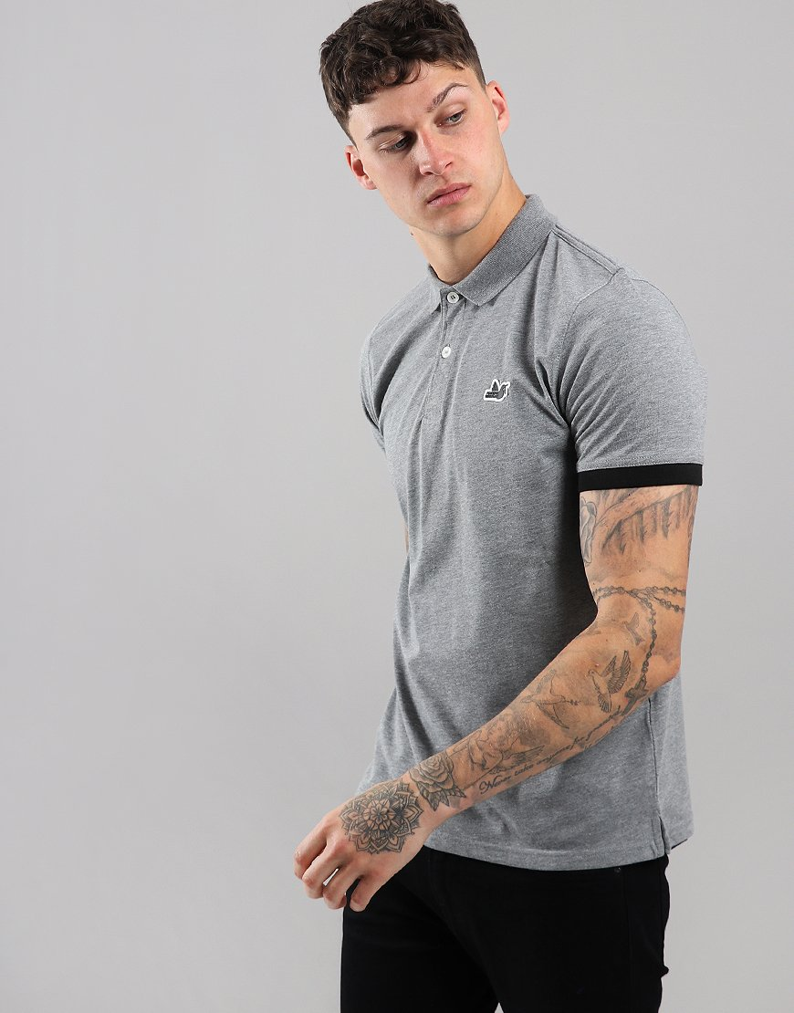 Peaceful Hooligan Brenden Polo Shirt Marl Grey
