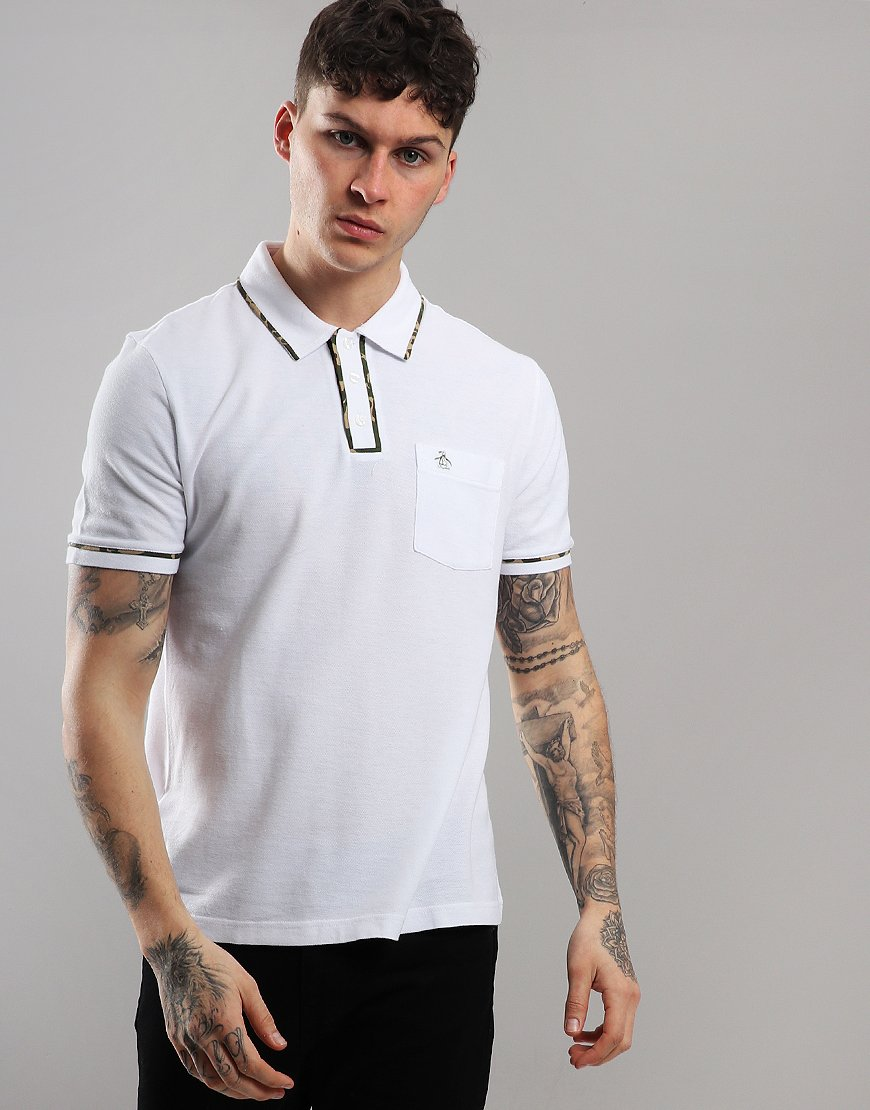 Penguin Camo Earl Polo Shirt Bright White