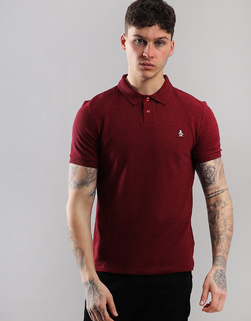 Penguin Chunky Rib Polo Shirt Biking Red Heather
