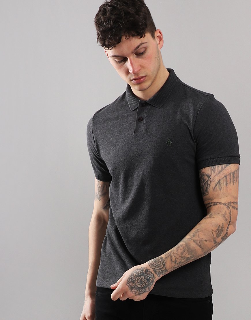 Penguin Chunky Rib Polo Shirt Dark Charcoal Heather