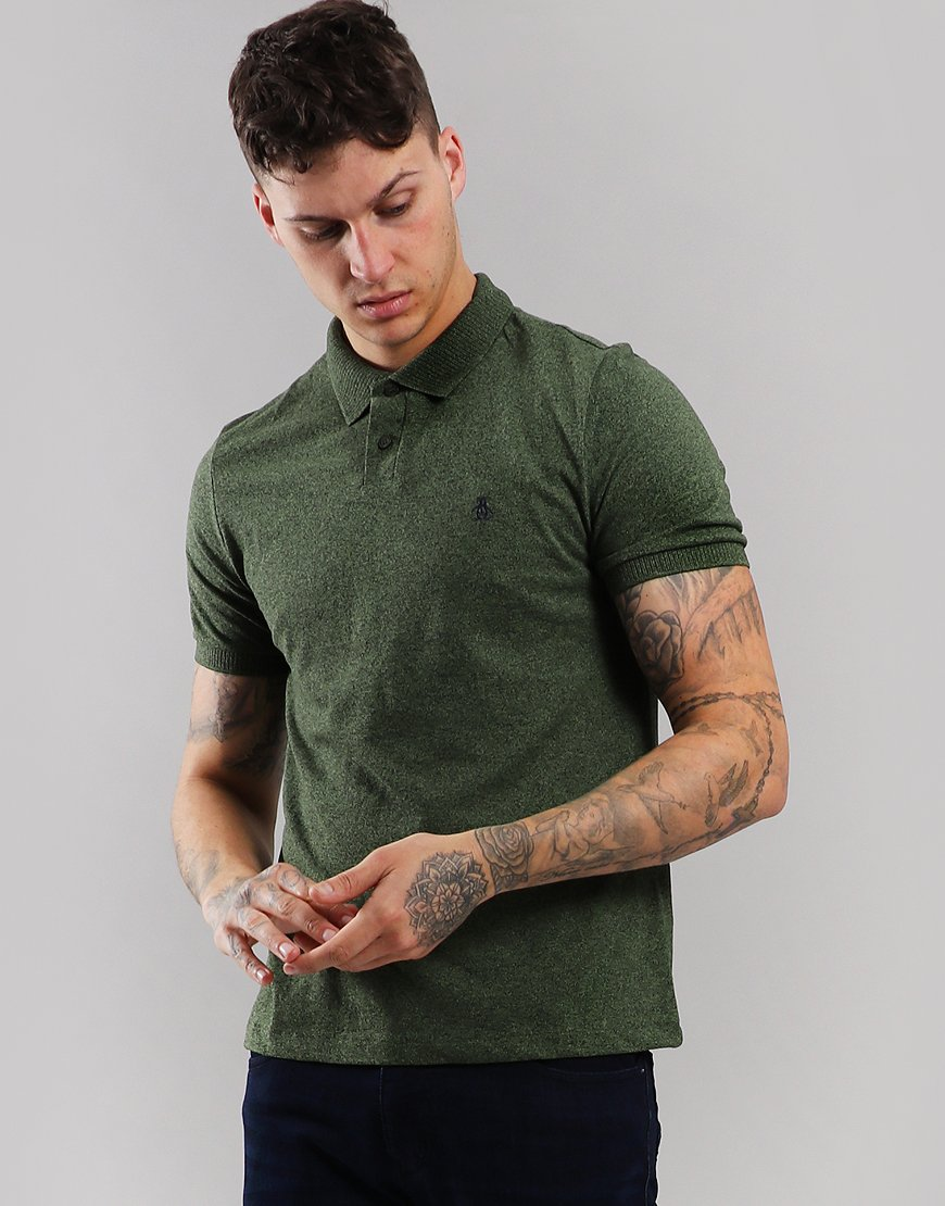 Penguin Chunky Rib Polo Shirt Bronze Green Heather