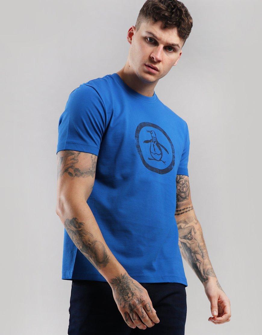 Penguin Distressed Circle T-Shirt Classic Blue