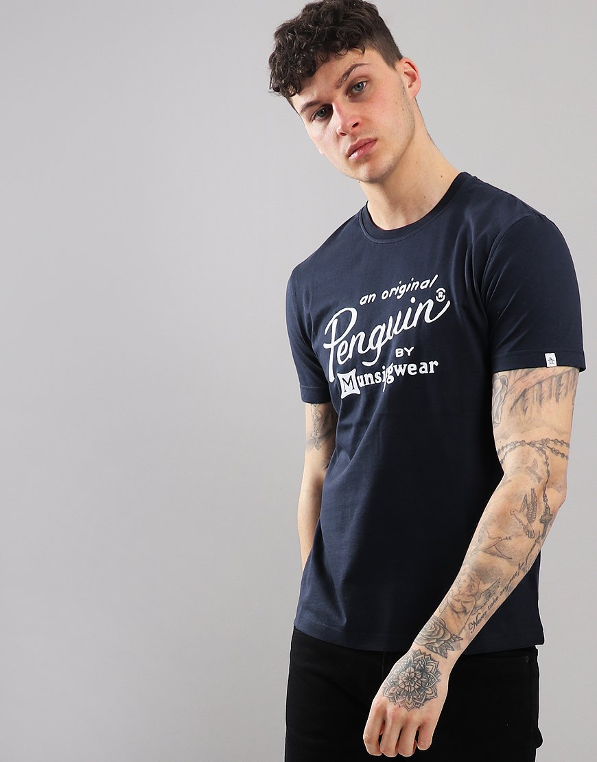 3db06196 Penguin Flocked Script Printed T-Shirt Dark Sapphire - Terraces Menswear